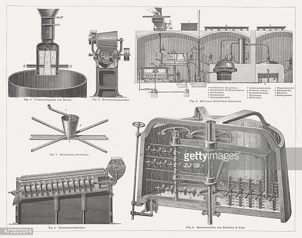 brewery, technical equipment, wood engravings, published in 1874 - brewery stock illustrations, clip art, cartoons, & icons