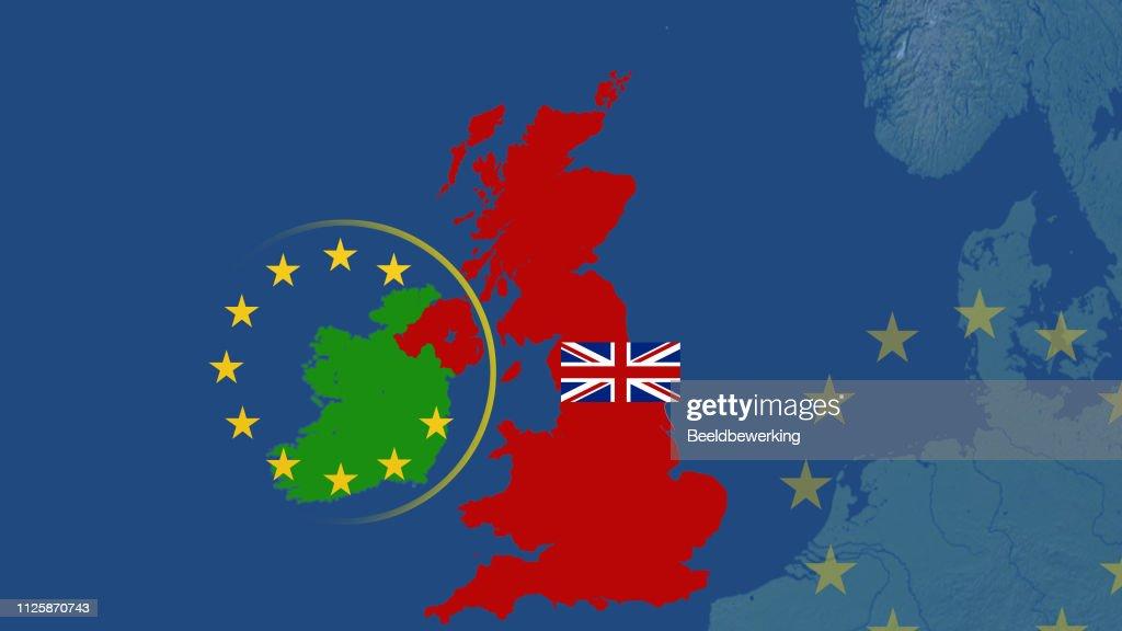Brexit backstop cartoon ireland  UK and EU  UK with union jack : stock illustration