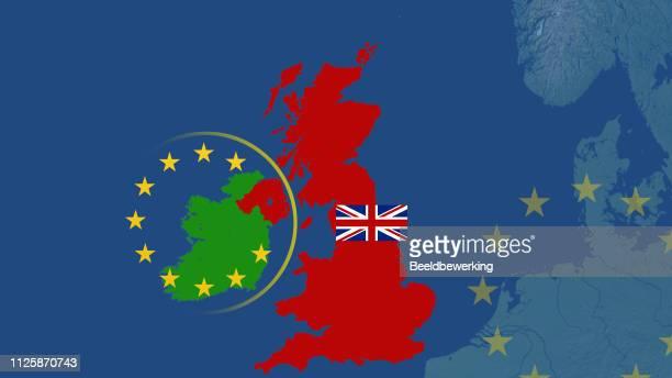 Brexit backstop cartoon ireland  UK and EU  UK with union jack
