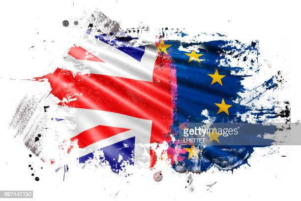 brexit ink grunge flag - brexit stock illustrations