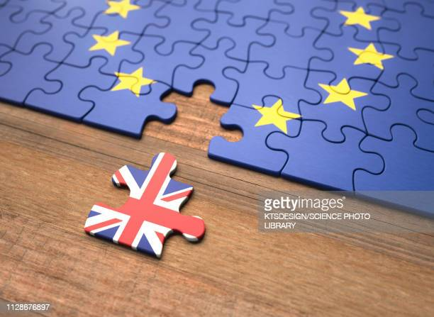 brexit jigsaw puzzle, illustration - all european flags stock illustrations