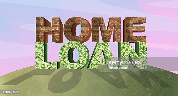 bricks and paper currency representing the concept of home loan - legal document stock illustrations, clip art, cartoons, & icons
