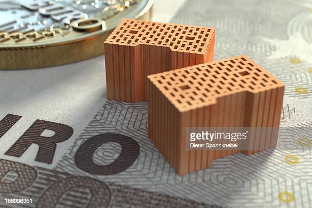 Bricks on euro banknote with one euro coin