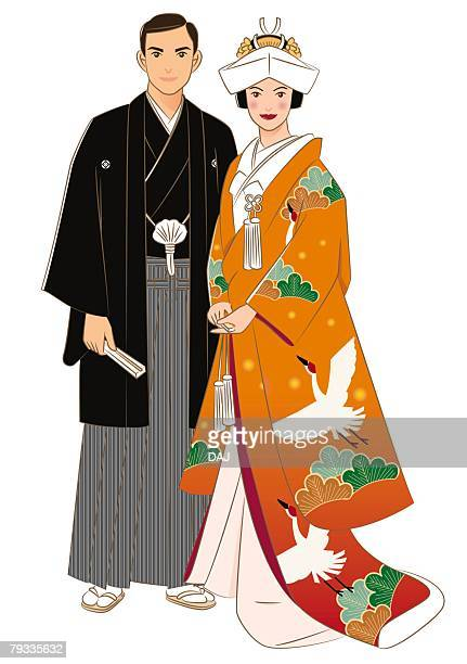 bridal couple standing side by side in japanese style clothing, front view - only japanese stock illustrations, clip art, cartoons, & icons