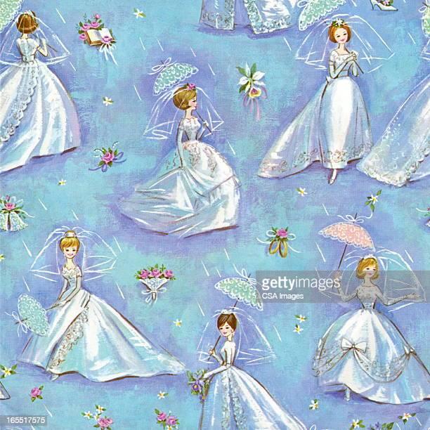 ilustraciones, imágenes clip art, dibujos animados e iconos de stock de patrón de bodas - vestido de novia