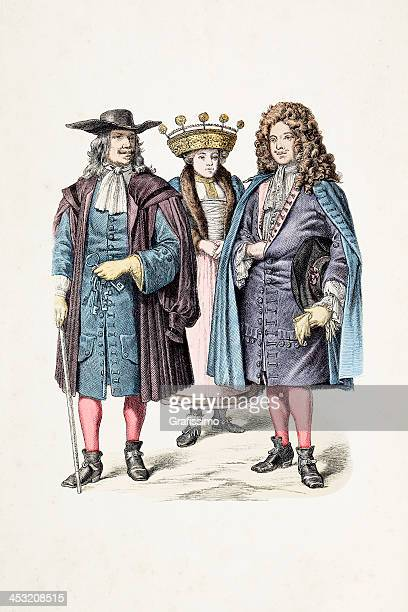 bride and bridegroom of strasbourg from 1670 - traditional clothing stock illustrations