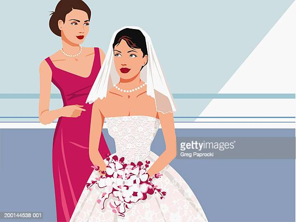 bride and bridesmaid - updo stock illustrations, clip art, cartoons, & icons