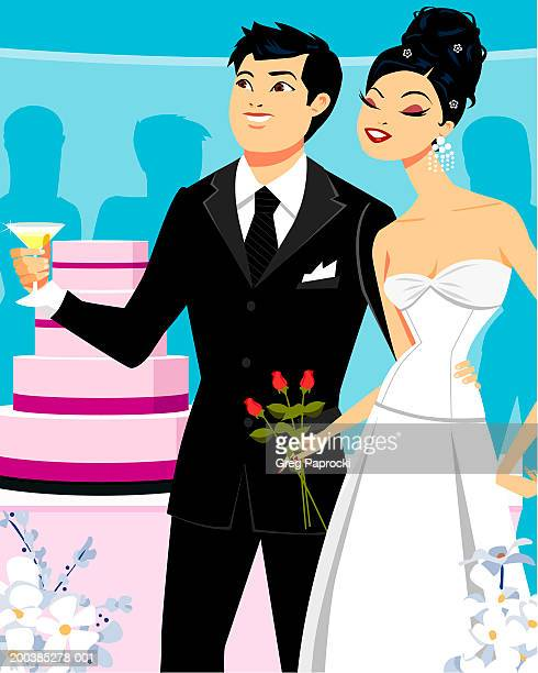 bride and groom, bride holding roses, groom holding champagne - wedding cake stock illustrations