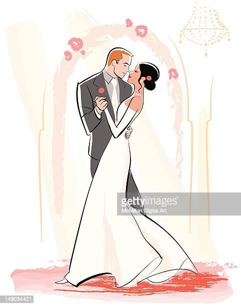 ilustraciones, imágenes clip art, dibujos animados e iconos de stock de bride and groom dancing - pareja bailando cuerpo entero