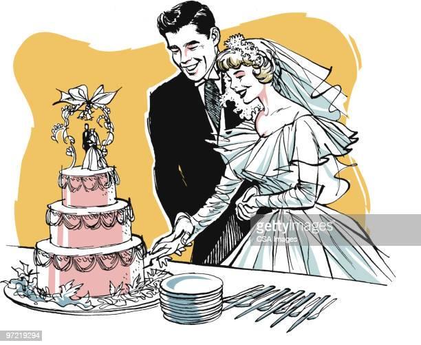 bride and groom - wedding cake stock illustrations