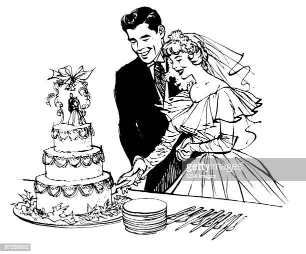 bride and groom - cake stock illustrations