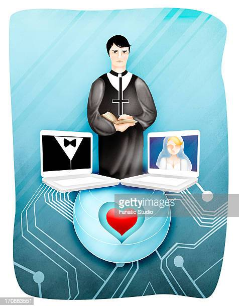 Bride and groom with officiate during online marriage