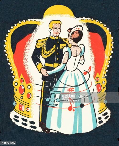 bride and prince groom - ballroom stock illustrations