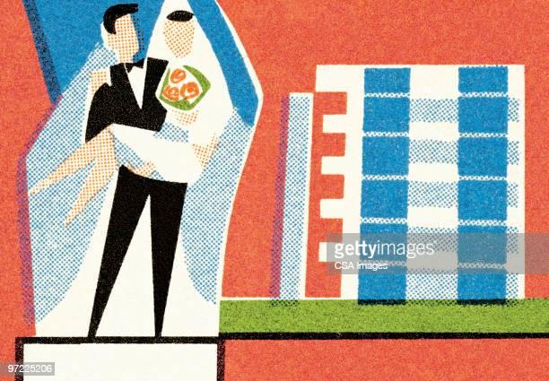 bride, groom, honeymoon hotel - 夫婦点のイラスト素材/クリップアート素材/マンガ素材/アイコン素材