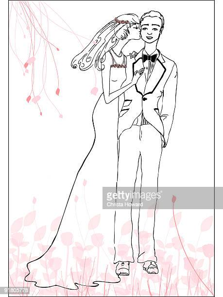 a bride kissing her groom on the cheek - girlfriend stock illustrations, clip art, cartoons, & icons