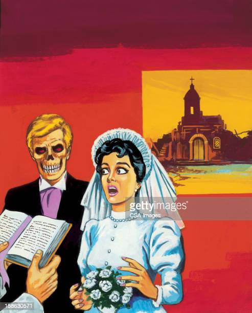 bride marrying zombie groom - gasping stock illustrations, clip art, cartoons, & icons