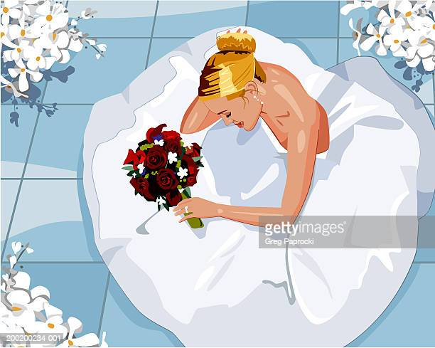 bride sitting on floor, holding bouquet, elevated view - updo stock illustrations, clip art, cartoons, & icons