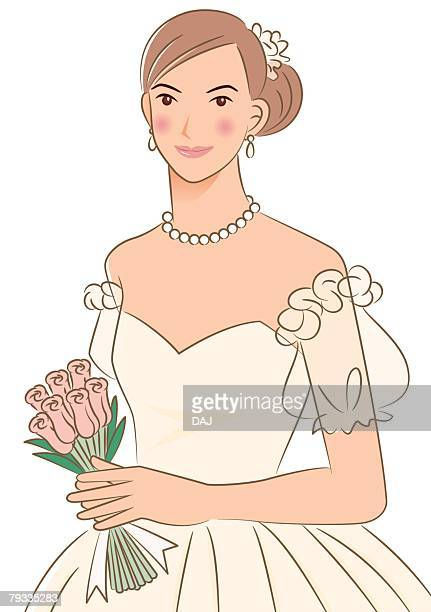 Bride smiling and holding wedding bouquet, portrait, front view