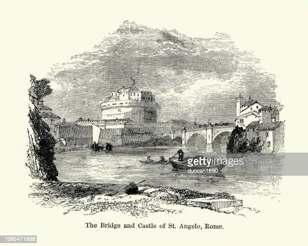 bridge and castle of st angelo, rome, 19th century - castel sant'angelo stock illustrations
