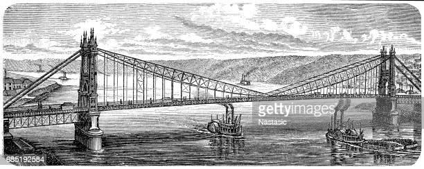 Bridge in Pittsburgh, Pennsylvania, USA, 1878