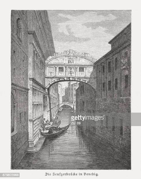 bridge of sighs (ponte dei sospiri), wood engraving, published 1883 - venice italy stock illustrations, clip art, cartoons, & icons