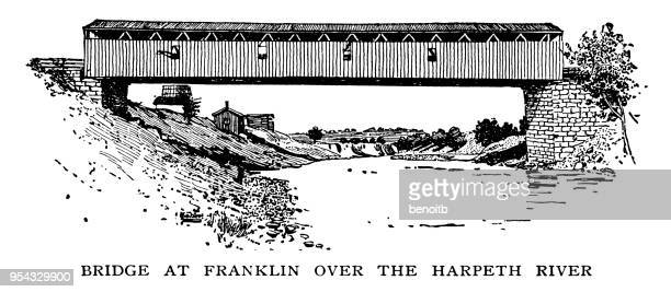 bridge over the harpeth river - covered bridge stock illustrations