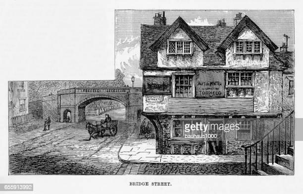 Bridge Street in Chester, England Victorian Engraving, 1840
