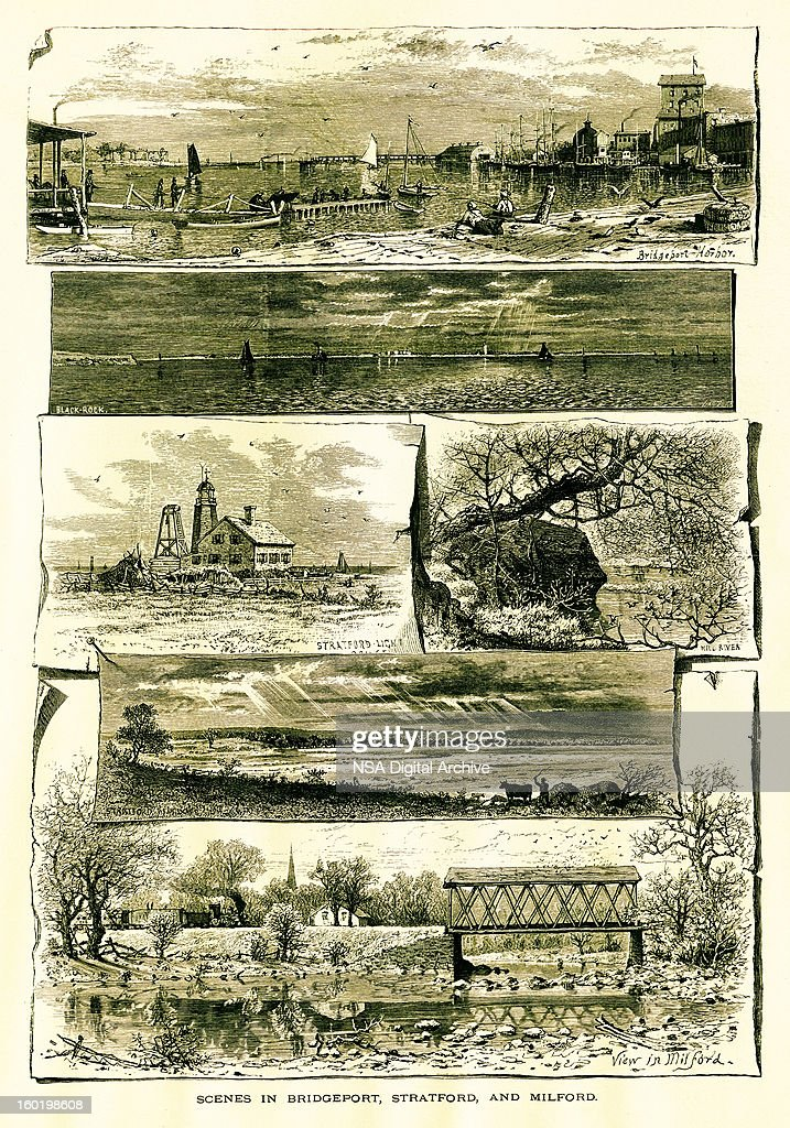 Bridgeport, Stratford, and Milford, Connecticut : Stock Illustration
