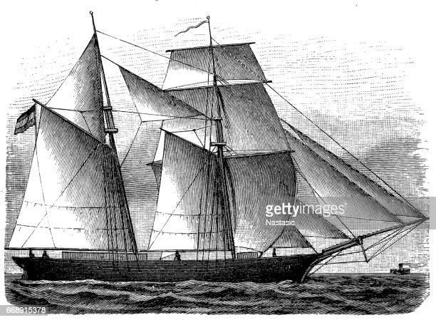 ilustraciones, imágenes clip art, dibujos animados e iconos de stock de buque brig - estilo siglo xix