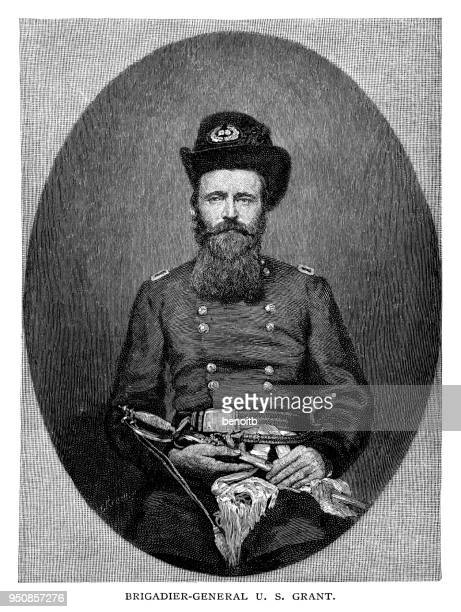 brigadier general ulysses simpson grant - ulysses s grant stock illustrations
