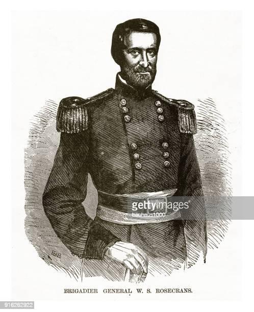 illustrations, cliparts, dessins animés et icônes de le général de brigade w.s. rosecrans guerre civile gravure - ambassadeur rôle social