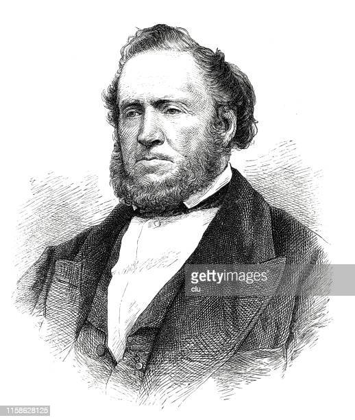 brigham young, leader of the mormons - brigham young religious leader stock illustrations, clip art, cartoons, & icons