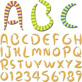 Bright and lively stripes font