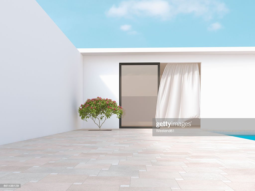Bright courtyard with red frangipani and blowing curtain, 3d rendering : Ilustración de stock
