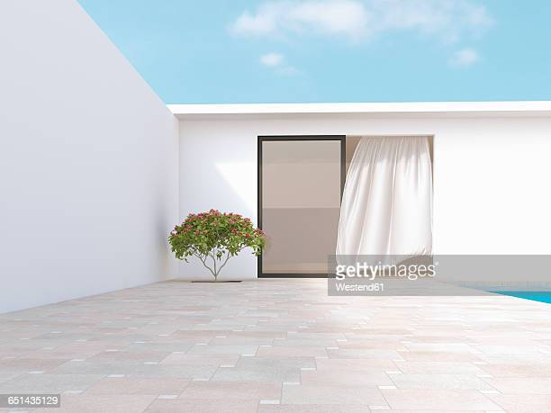 Bright courtyard with red frangipani and blowing curtain, 3d rendering