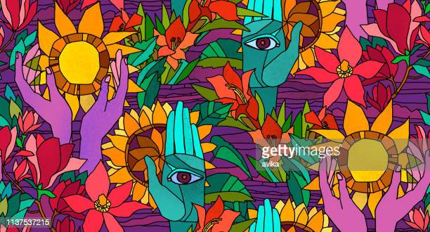 bright seamless pattern with sunflowers,  magnolia, gladiolus and human hands - garden drawing stock illustrations