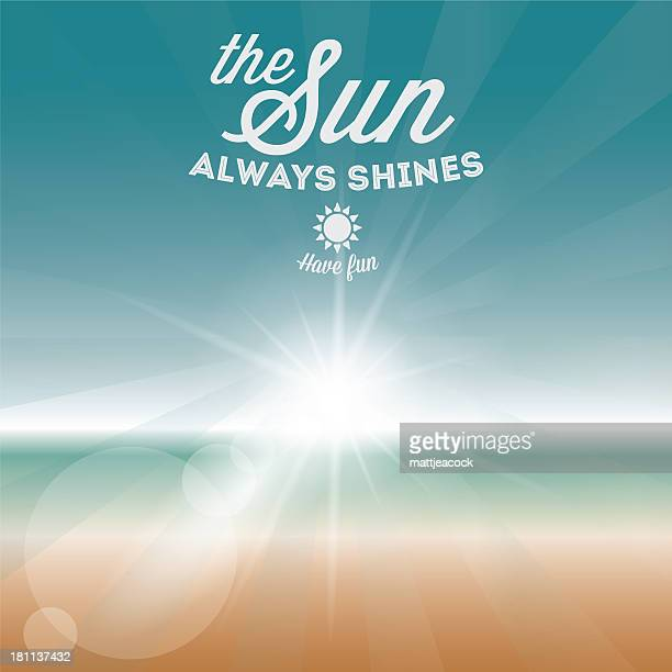 明るい夏の背景に白い文字