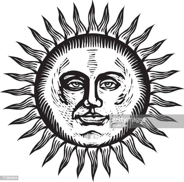 Bright sun with face, black and white