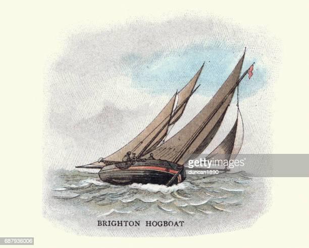 brighton hog boat, 19th century - brighton england stock illustrations