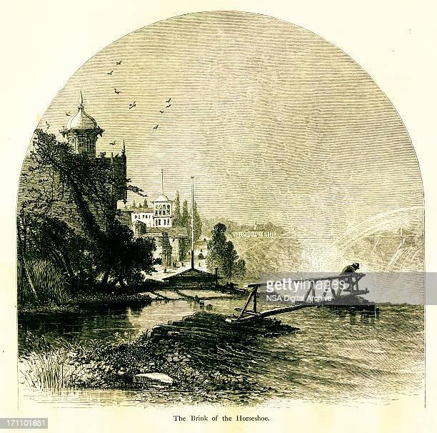 brink of the horseshoe, lake ontario - lake ontario stock illustrations, clip art, cartoons, & icons