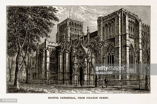 Bristol Cathedral in Yorkshire, England Victorian Engraving, Circa 1840