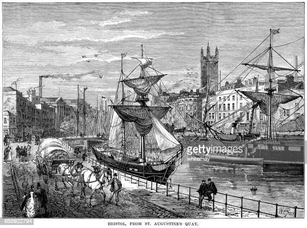 Bristol from St Augustine's Quay (Victorian engraving)