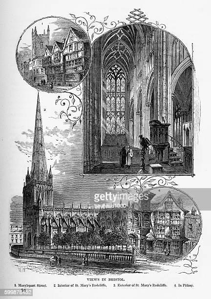 Bristol Historic Landmarks in Yorkshire, England Victorian Engraving, Circa 1840