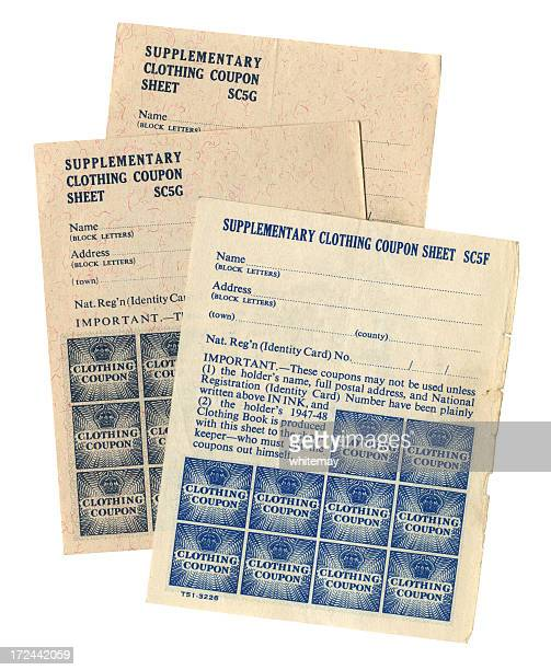british 1947-48 supplementary clothing coupons - world war ii stock illustrations