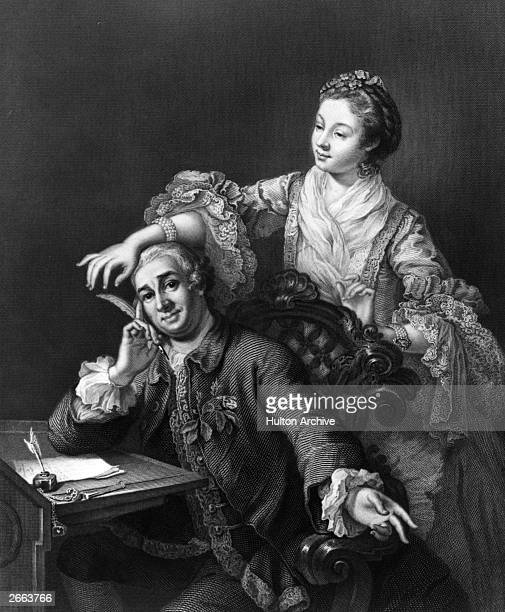 British actor and theatre manager David Garrick seated at a desk with a woman standing behind him and reaching for his quill Original Artwork...