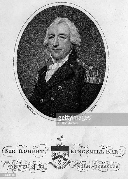 British Admiral Sir Robert Brice Kingsmill Original Artwork Engraving by W Ridley after L Abbott
