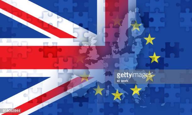 illustrations, cliparts, dessins animés et icônes de le drapeau britannique et européens et carte avec les scies sauteuses - brexit