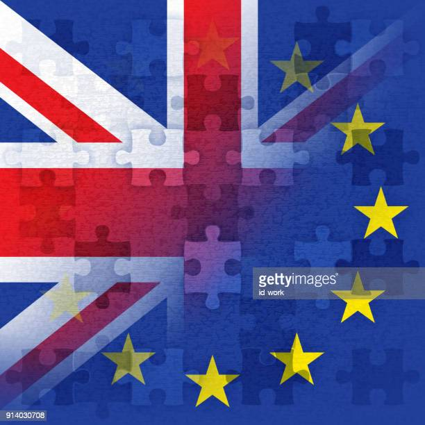 british and european flag with jigsaws - brexit stock illustrations, clip art, cartoons, & icons