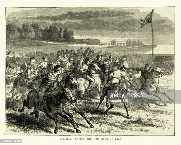 british army officers playing game of polo, 1870s - polo stock illustrations