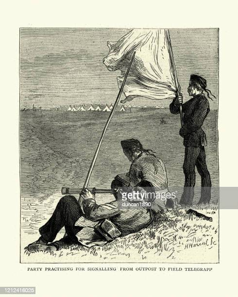 british army signallers signaling from outpost to field telegraph, victorian - semaphore stock illustrations